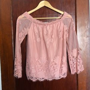 Arizona pink off the shoulder lace top